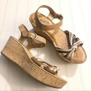 Born Cork Platform Sandals Tan Strappy Womens 8